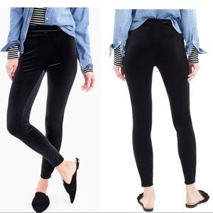 J. Crew Stretch Velvet Leggings in Black Size XL